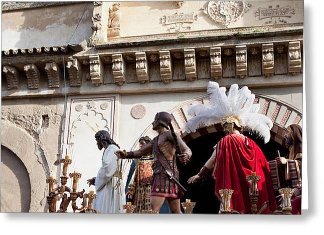 Jesus Christ and Roman Soldiers on Procession Platform Greeting Card by Artur Bogacki