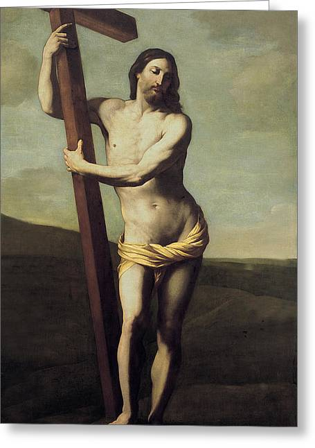 Jesus Christ Images Digital Art Greeting Cards - Jesus Christ And The Cross Greeting Card by Guido Reni