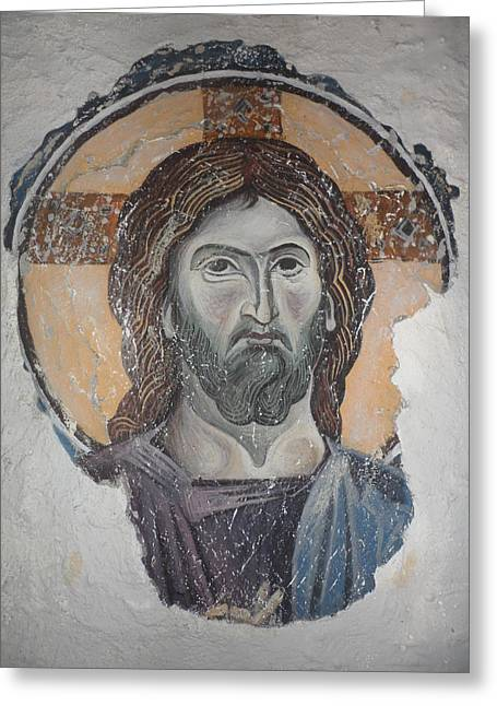 Fresco Reliefs Greeting Cards - Jesus Christ  Greeting Card by Antoni Golabovski