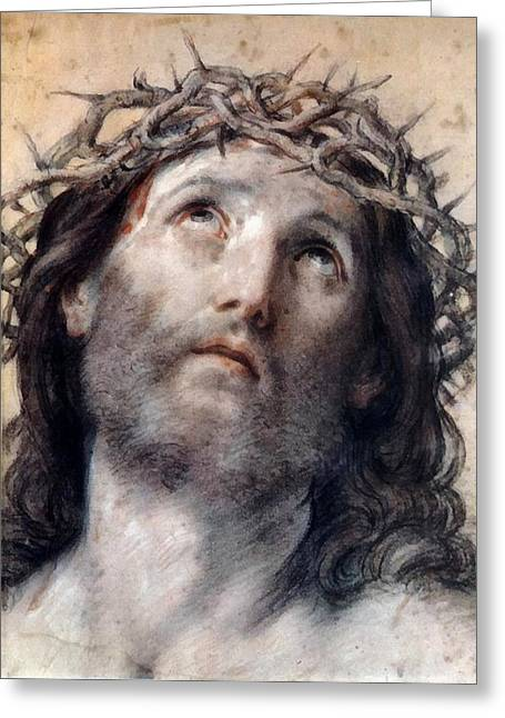 Religious Art Digital Art Greeting Cards - Jesus Christ Crown of Thorne Greeting Card by Guido Reni