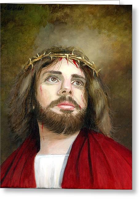 Jesus Christ Crown Of Thorns Greeting Card by Cecilia Brendel