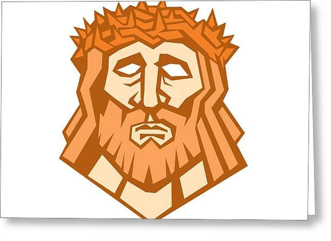 Jesus Christ Face Crown Thorns Retro Greeting Card by Aloysius Patrimonio