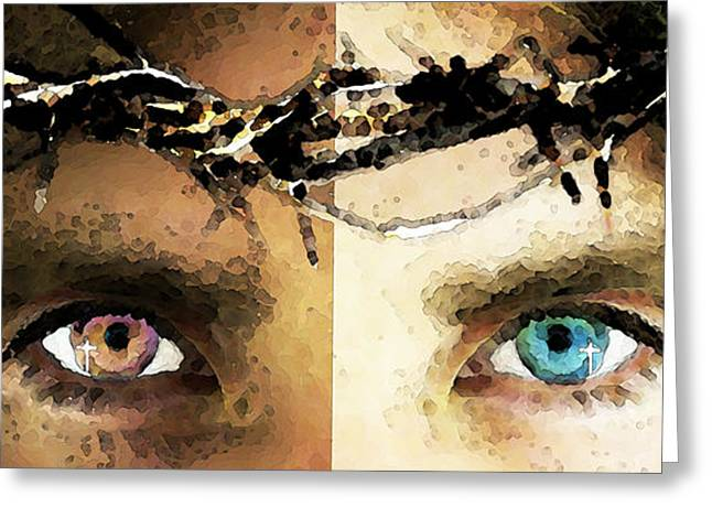 Black Man Greeting Cards - Jesus Christ - How Do You See Me Greeting Card by Sharon Cummings