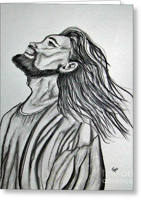 Hand Drawn Greeting Cards - Jesus Christ In Graphite Greeting Card by Janice Rae Pariza