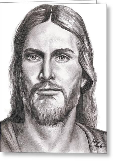 Christ Sermon Greeting Cards - Jesus Christ Greeting Card by Michael Mestas