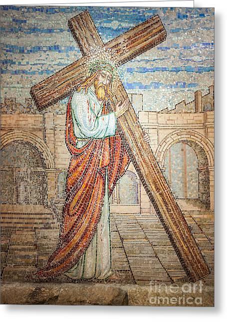 Jesus Artwork Photographs Greeting Cards - Jesus Christ Mosaic  Greeting Card by Ilan Rosen