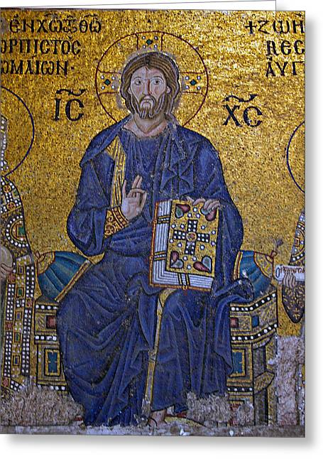 Ancient Greek Art Greeting Cards - Jesus Christ Mosaic Greeting Card by Stephen Stookey