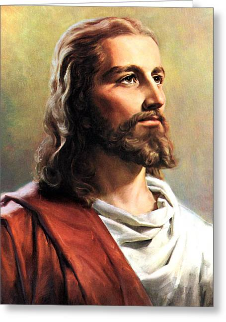 Christianity Greeting Cards - Jesus Christ Greeting Card by Munir Alawi