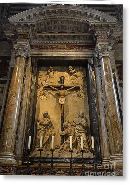 Jesus-christ On Cross Inside Siena's Duomo Greeting Card by Sami Sarkis