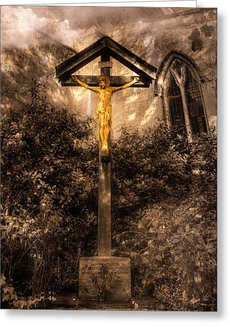 Resurrected Lord Photographs Greeting Cards - Jesus Christ on the Cross Greeting Card by Curtis Radclyffe