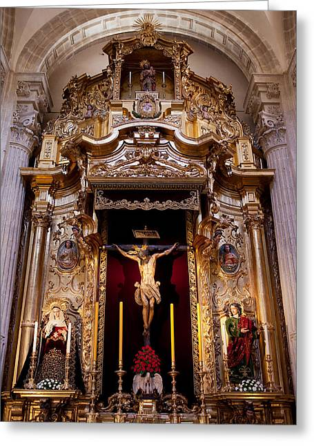 Jesus Christ Icon Greeting Cards - Jesus Christ on the Cross Reredos in Seville Cathedral Greeting Card by Artur Bogacki