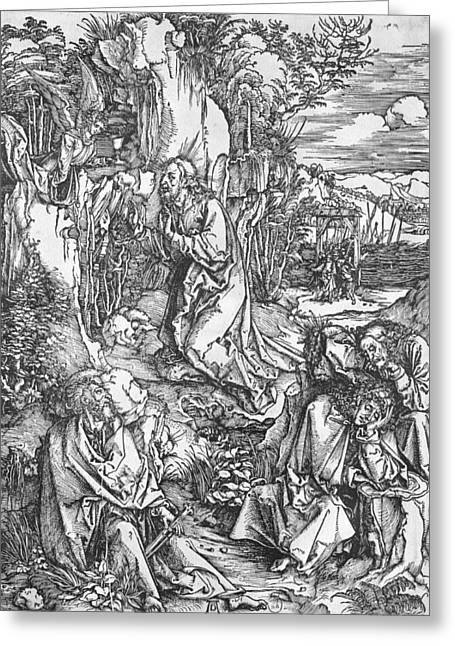 Mt Drawings Greeting Cards - Jesus Christ on the Mount of Olives Greeting Card by Albrecht Durer or Duerer