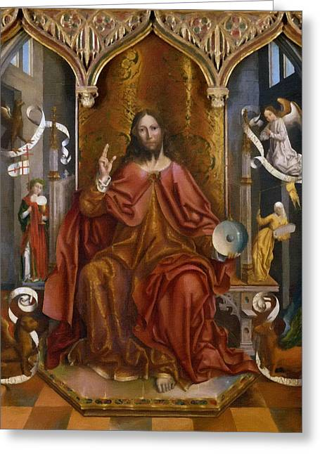 Religion Greeting Cards - Jesus Christ Savior Greeting Card by Victor Gladkiy