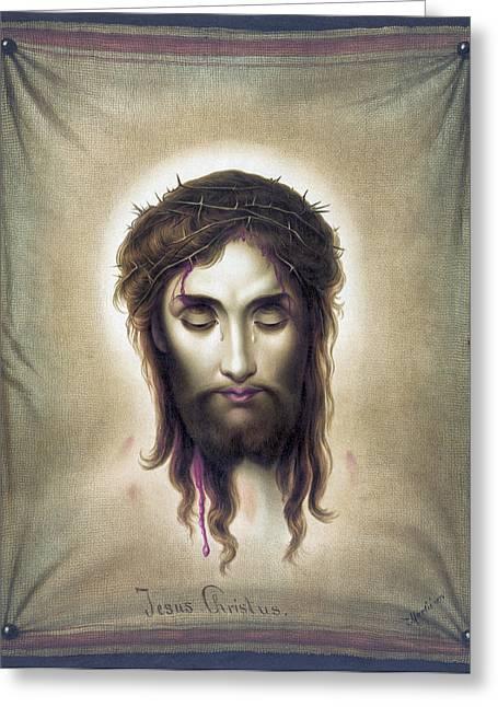 Christus Greeting Cards - Jesus Christus - Veronicas Veil - 1876 Greeting Card by Daniel Hagerman