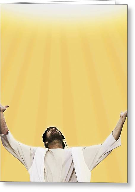 Raised Image Greeting Cards - Jesus Cries Out To Heaven Greeting Card by Kelly Redinger