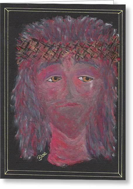 Jesus Pastels Greeting Cards - Jesus Crown Of Thorns Greeting Card by Lyn Blore Dufty