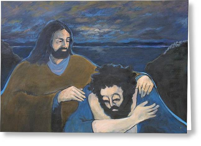 Delivering Paintings Greeting Cards - Jesus Delivers the Demonic Greeting Card by Ann Lukesh