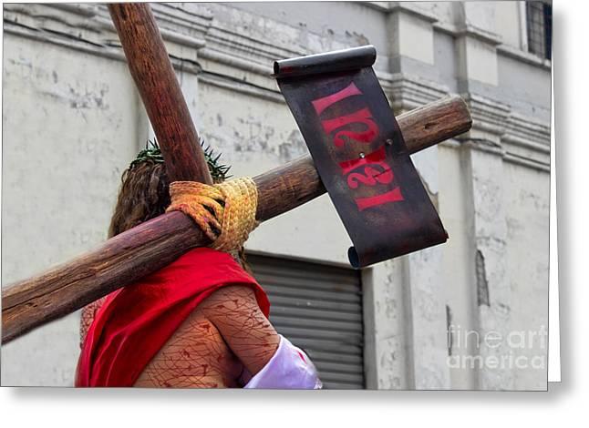 Jesus Died For Us IIi Greeting Card by Al Bourassa