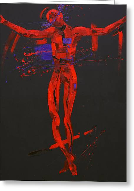 Outstretched Arm Paintings Greeting Cards - Jesus Dies on the Cross Station 12 Greeting Card by Penny Warden