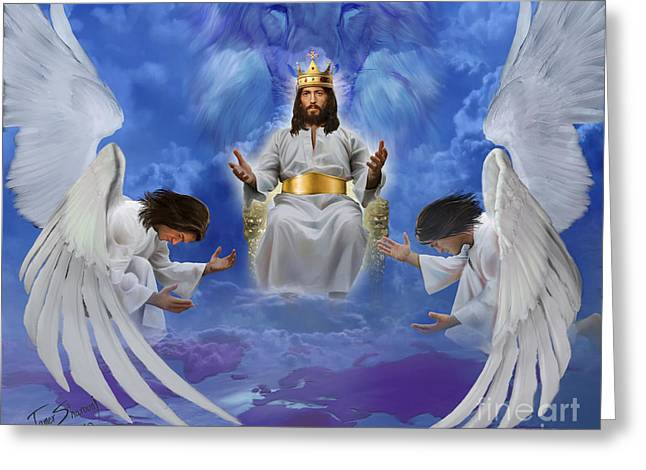 Jesus enthroned Greeting Card by Tamer and Cindy Elsharouni