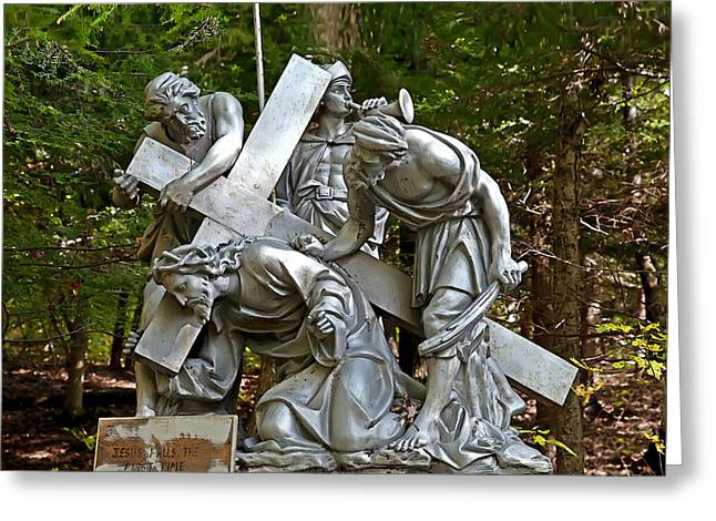 Divine Photographs Greeting Cards - Jesus Falls the First Time Greeting Card by Terry Reynoldson