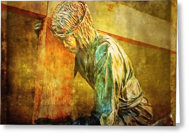 Jesus Falls Via Dolorosa 3 Greeting Card by Lianne Schneider