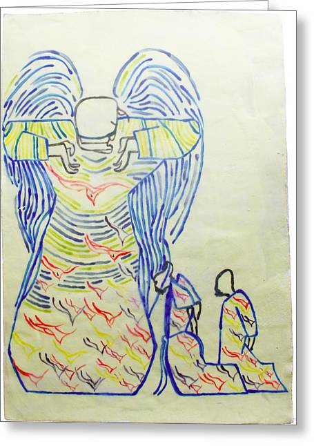 Ugandan Ceramicist Ceramics Greeting Cards - Jesus Guardian Angel Greeting Card by Gloria Ssali