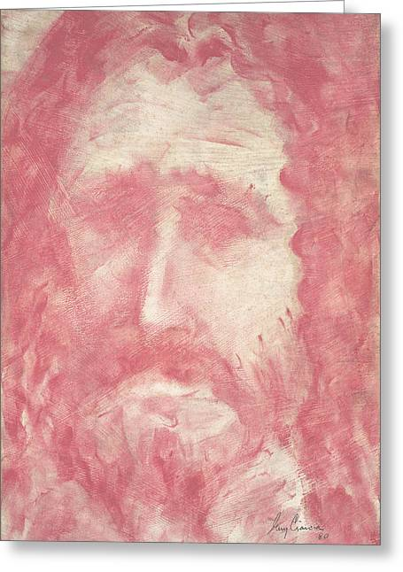 Religious Canvas Prints Drawings Greeting Cards - Jesus Greeting Card by Guy Ciarcia