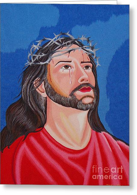 Totam Tapestries - Textiles Greeting Cards - Jesus hand embroidery Greeting Card by To-Tam Gerwe