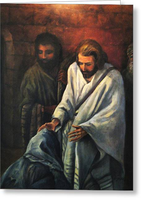 Donna Tucker Greeting Cards - Jesus Healing Beggar Greeting Card by Donna Tucker