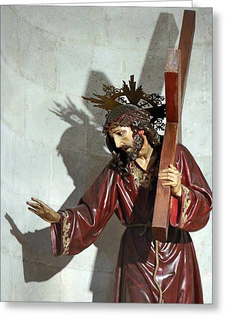 Crucifiction Greeting Cards - Jesus Holding His Cross Greeting Card by Munir Alawi