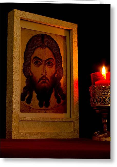 Not Made With Hands Greeting Cards - Jesus Icon Not Made with Hands Greeting Card by Richard Singleton