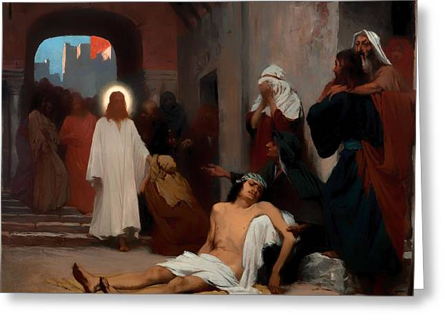Religious Artwork Paintings Greeting Cards - Jesus in Capernaum Greeting Card by Rodolpho Amoedo