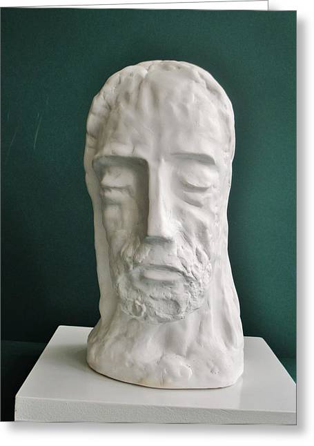 Christ Sculptures Greeting Cards - Jesus in Prayer 2014 Greeting Card by Karl Leonhardtsberger