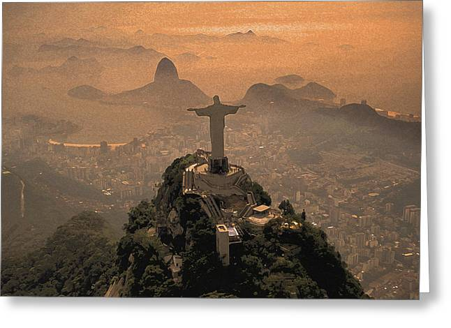 Jesus Christ Icon Greeting Cards - Jesus in Rio Painted Greeting Card by Christian Heeb