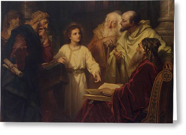 To My Father Greeting Cards - Jesus in the Temple Greeting Card by Heinrich Hoffmann