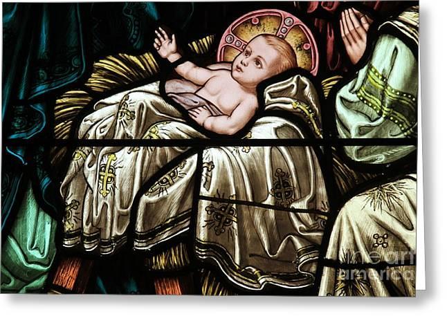 Baby Jesus Greeting Cards - Jesus Is Born Greeting Card by Adam Jewell