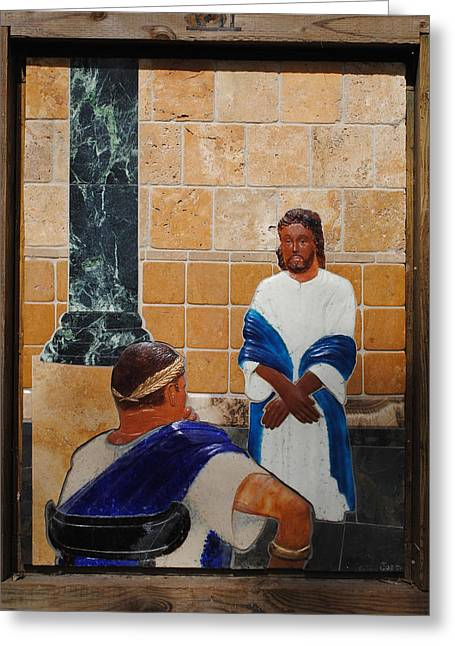 Pontius Greeting Cards - Jesus is Judged by Pontius Pilate Greeting Card by Lance Jost
