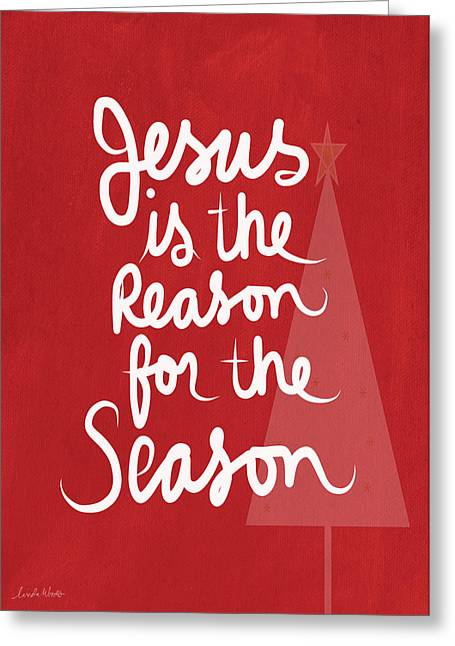 Winter Trees Mixed Media Greeting Cards - Jesus Is The Reason For The Season- greeting card Greeting Card by Linda Woods