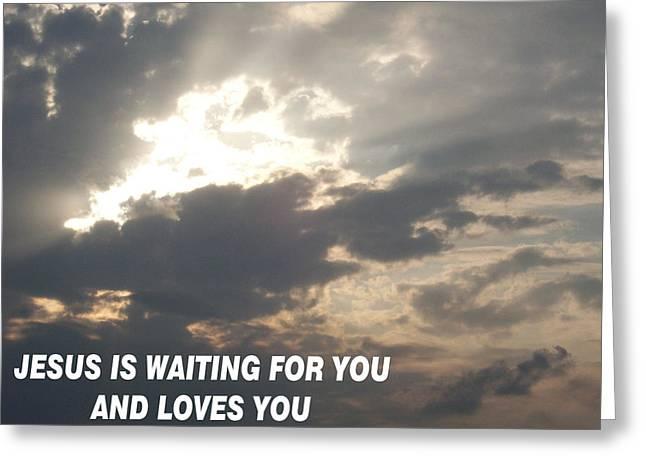 Could Reach Greeting Cards - Jesus is Waiting Greeting Card by Belinda Lee