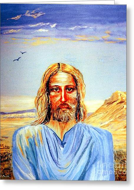 Beautiful Face Greeting Cards - Jesus Greeting Card by Jane Small