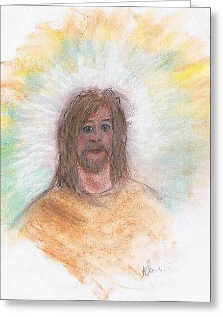 Faith Pastels Greeting Cards - Jesus  Greeting Card by Karen J Jones