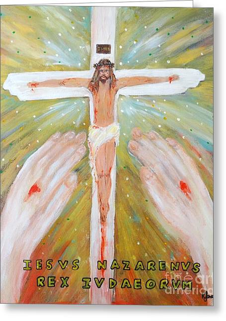 Forgiveness Greeting Cards - Jesus - King of the Jews Greeting Card by Karen J Jones