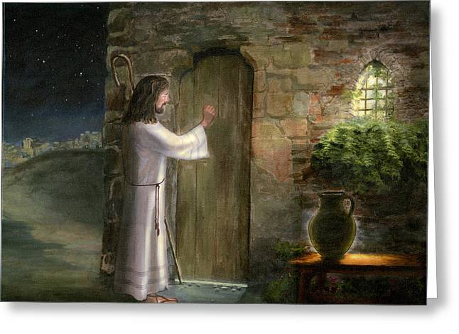 Religious Paintings Greeting Cards - Jesus Knocking at the Door Greeting Card by Cecilia  Brendel