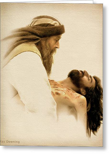Religious work Digital Greeting Cards - Jesus Laid to Rest Greeting Card by Ray Downing
