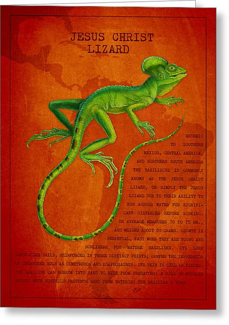 Tropical Wildlife Greeting Cards - Jesus Lizard Greeting Card by Aged Pixel