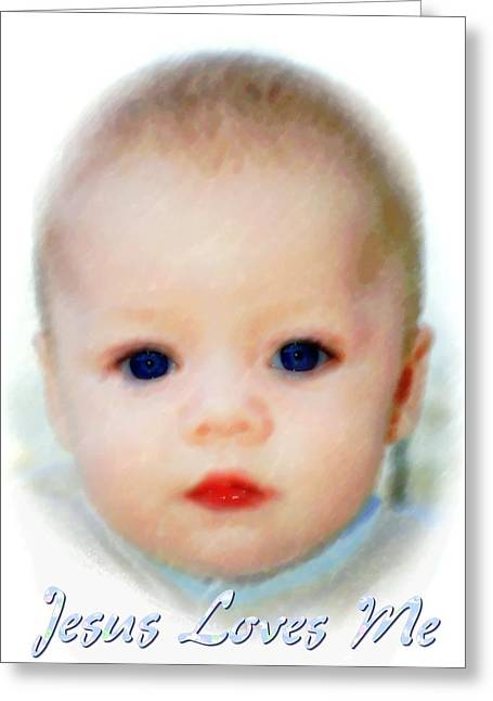 Toddlers Poster Greeting Cards - Jesus Loves Me Greeting Card by Michelle Greene Wheeler