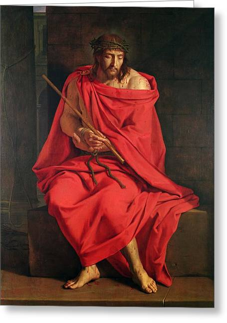 Jesus Greeting Cards - Jesus Mocked Oil On Canvas Greeting Card by Philippe de Champaigne