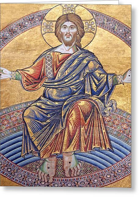 Jesus Artwork Photographs Greeting Cards - Jesus Mosaics Greeting Card by Munir Alawi