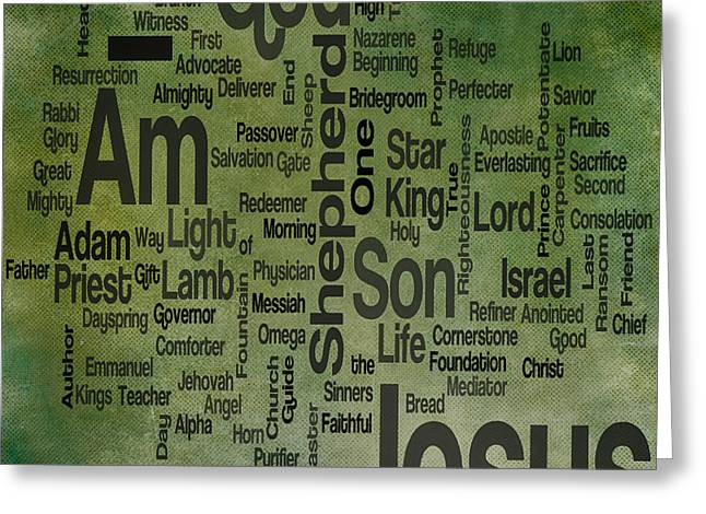 Advocate Greeting Cards - Jesus Name 1 Greeting Card by Angelina Vick